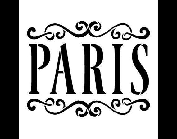 Paris Word Art Stencil Vintage Scrolls Select Size por StudioR12