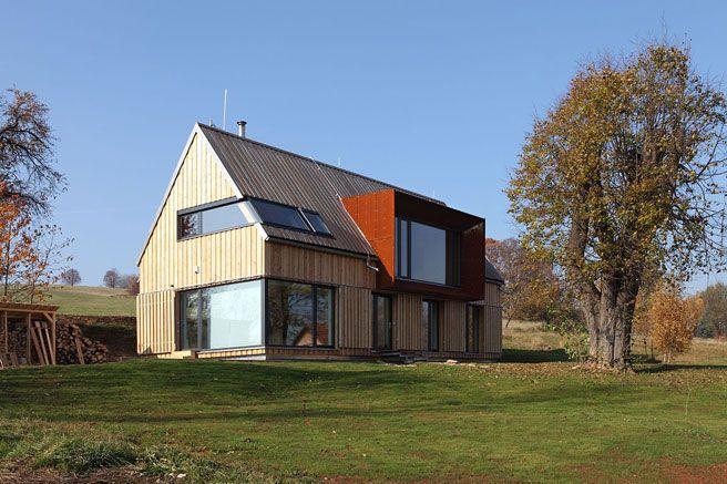 Holz glas cortenstahl for Hausfronten modern