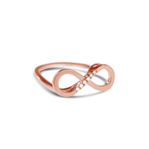 Oneindig, grenzeloos, onmetelijk ... een symbool met een heel krachtige betekenis!  De Infinity ring is gemaakt van sterling zilver verguld met 18 karaat geel, roos of wit goud en bezet met 6 diamanten.