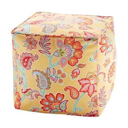 Home Essence Dana Printed Floral 3M Scotchgard Outdoor Pouf, Multicolor