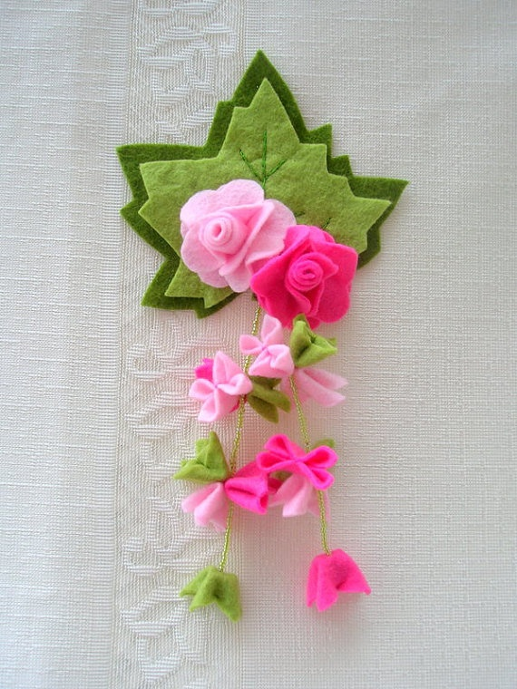 Felt Flower MagnetFree Shipping by Myworlds on Etsy, $18.00