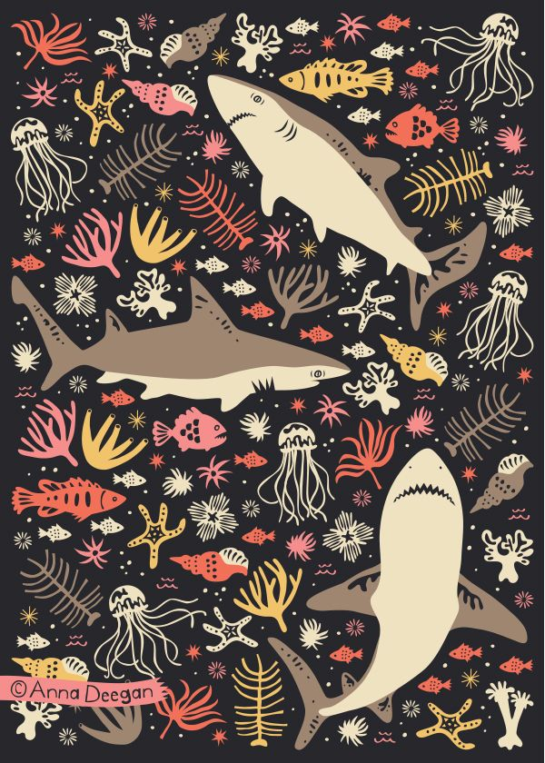 Oceanica by Anna Deegan #pattern #ocean #shark #sea #aquatic
