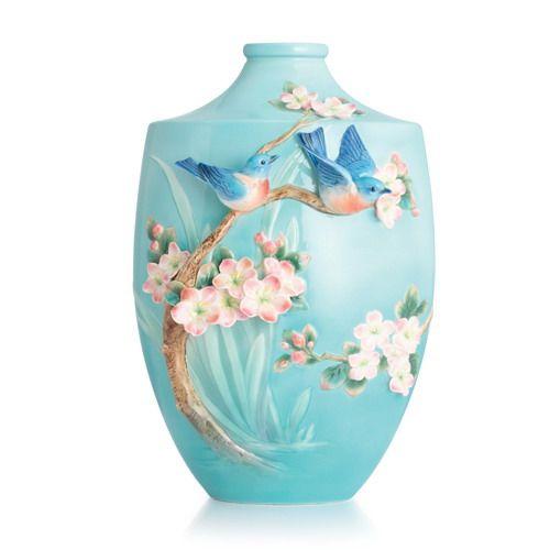 Franz Collection Bluebird on apple tree large vase (Limited Edition 999), item # FZ02852 from Distinctive-Decor.com