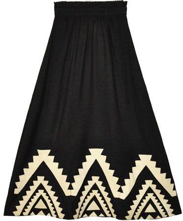 Mara Hoffman Black Wool Applique Skirt
