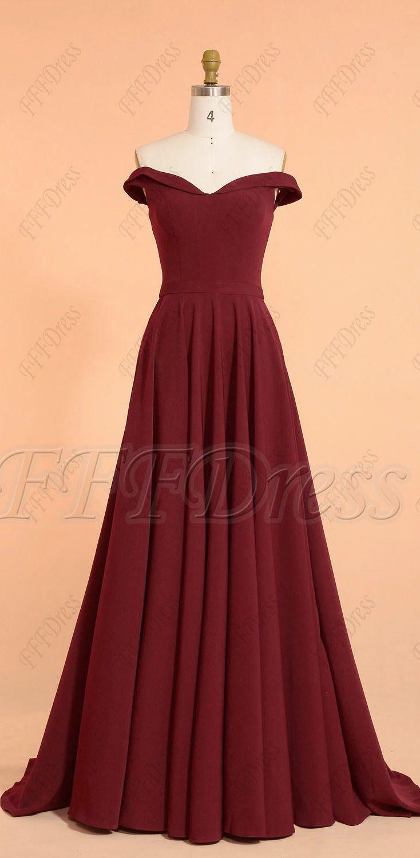 Burgundy Off The Shoulder Long Prom Dresses With Pockets Prom Dresses With Pockets Prom Dresses Off The Shoulder Dress Formal [ 1500 x 734 Pixel ]