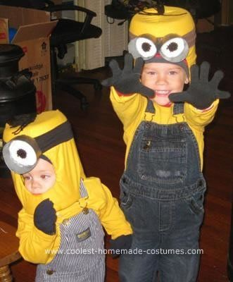 Homemade Minion Halloween Costume Idea: I had no idea what I wanted my 3 year old and my one year old to be; only that I wanted to have homemade costumes for them. While visiting my parents I