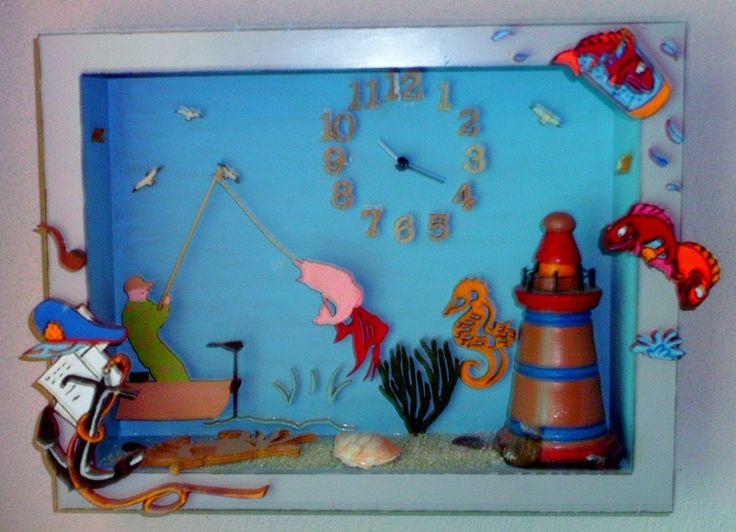 Horloges, Pêcheur en mer est une création orginale de lajoyeuserecup sur DaWanda
