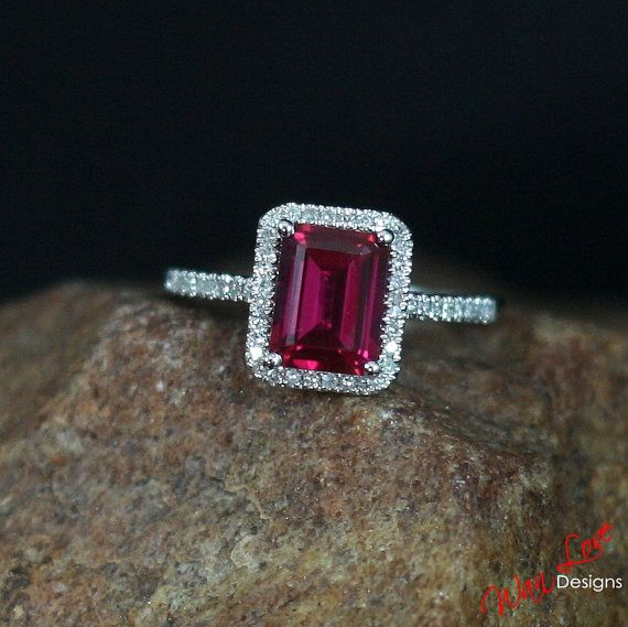 Ruby & Diamond Halo Engagement Ring 2ct 8x6mm by WanLoveDesigns