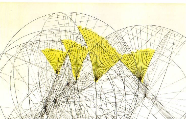 A geometric study for the Sydney Opera House (1958) designed by Danish architect Jørn Utzon (1918-2008). This wonderful post takes us from representative conceptual drawings to studies of form, geometry, space, acoustics, volume & others created for the iconic building. via Cáttedra Pedemonte