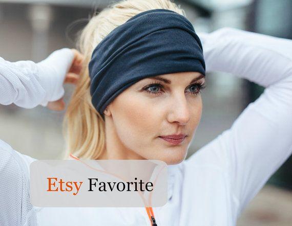 Black Headband Wide Headband Yoga Headband Boho Headband Running Headband Womens…
