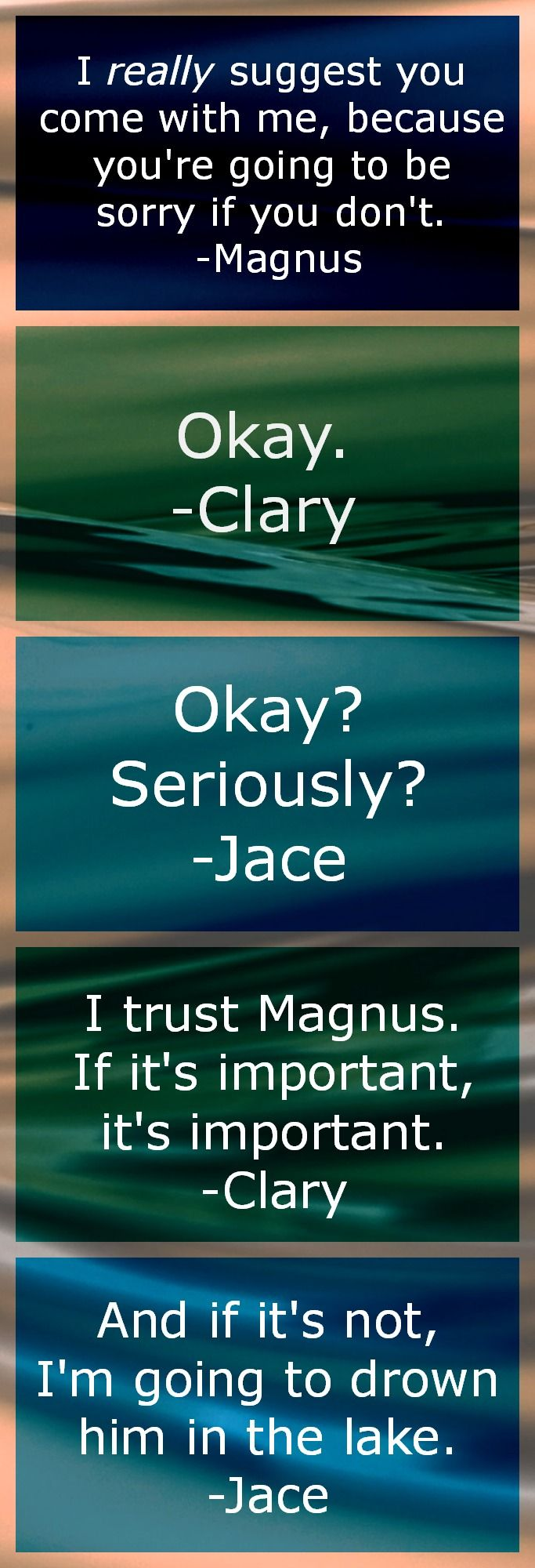 Magnus interrupts Clary and Jace. City of Heavenly Fire
