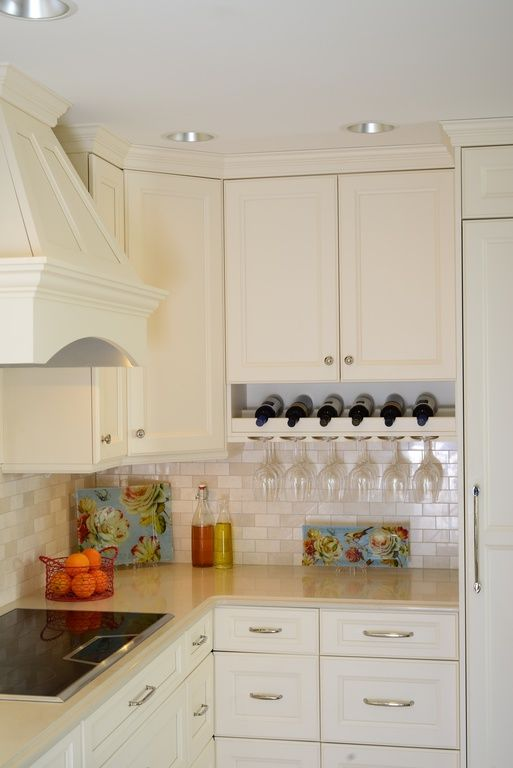 Traditional Kitchen With Stone Tile Flat Panel Cabinets