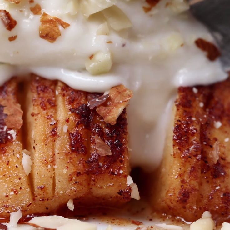 Maple Baked Hasselback Apple. Healthy, if you skip the ice cream!