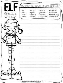 Free Creative Elf Writing Using Words Containing -elf {a bit challenging}