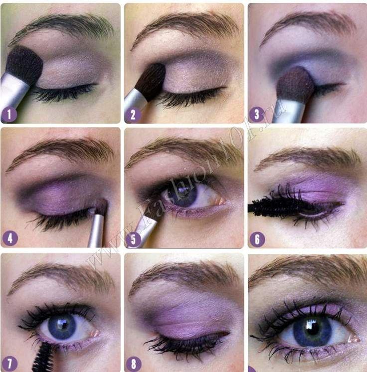 Макияж для глаз фиалкового цвета