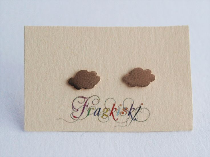 Clouds Rose-Gold Plated Stud Earrings by Fragkiski on Etsy