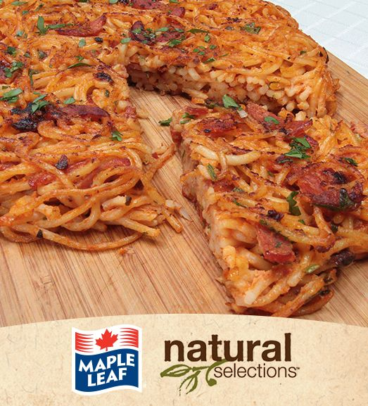 Pizza spaghetti avec pepperoni #NaturalSelections @Maple Leaf®