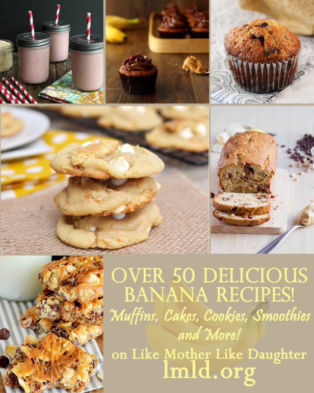 Over 50 delicious banana recipes, including cookies, cakes, smoothies and more! #lmldfood