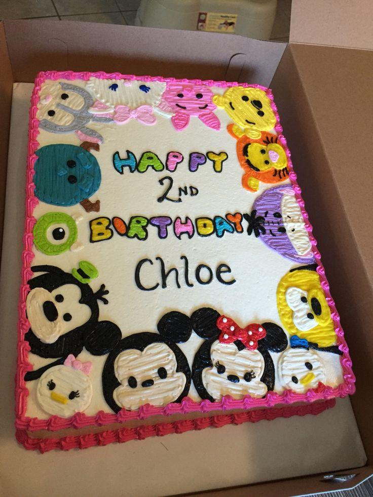 Torta de cumpleaños con masapan de Tsum Tsum