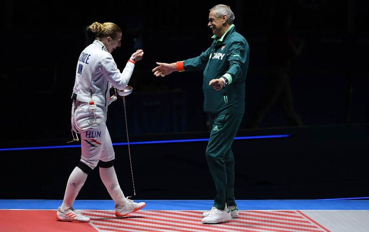 Emese Szasz after winning the first gold in fencing for Hungary