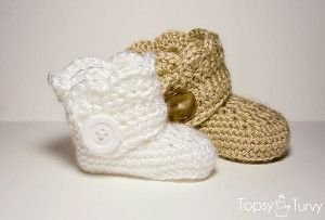 Why waste money on designer boots when you can #crochet these adorable Infant Ugg Boots? The wrap around style is finished with a large button for the perfect embellishment. Your little one will be so stylish in these.