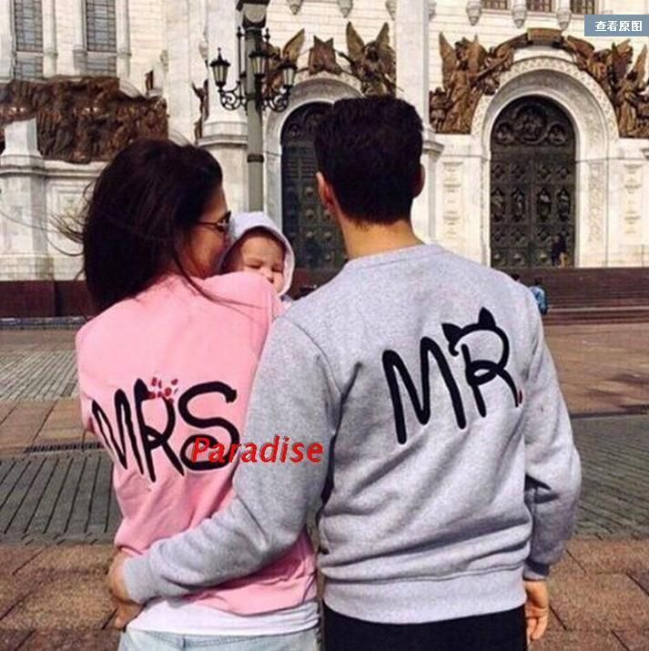 Long Sleeve Mr Mrs Letter Print Pullover Hoodies Couples Men Women Sweatshirts