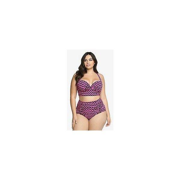 Torrid Chevron Print Bikini Top ($55) ❤ liked on Polyvore featuring swimwear, bikinis, bikini tops, chevron bikini, underwire swim top, underwire tankini top, underwire bikini and padded bikini top
