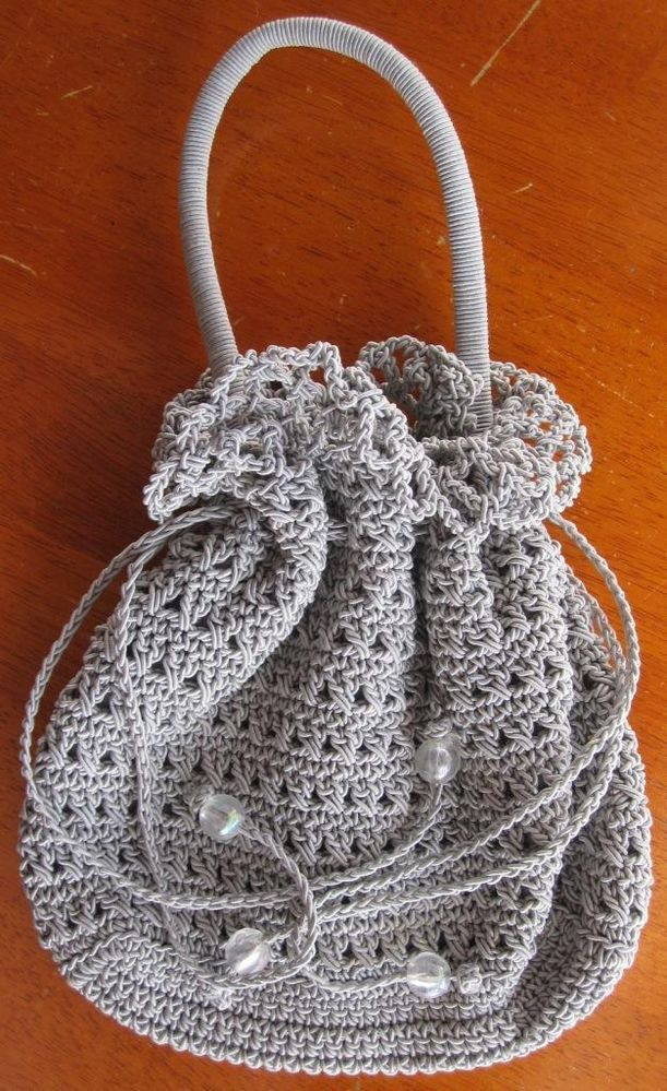 Vintage Crochet Hand Held Bag in Grey A superb accessory.