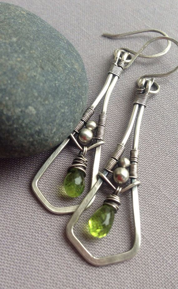 SALE / Silver Wire Earrings w. Prehnite/ Prehnite by mese9 on Etsy, $36.00