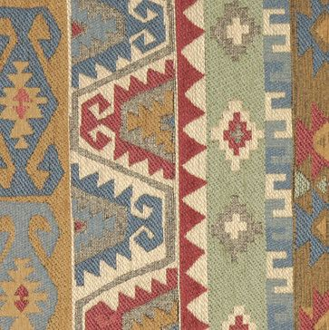 Green, Red. Blue and Gold, Striped Southwest Style Upholstery Fabric By The Yard - rustic - Upholstery Fabric - Palazzo Fabrics