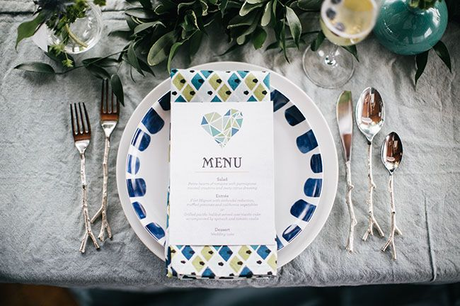 geometric heart menu #mariage #wedding #papeterie #geometrique