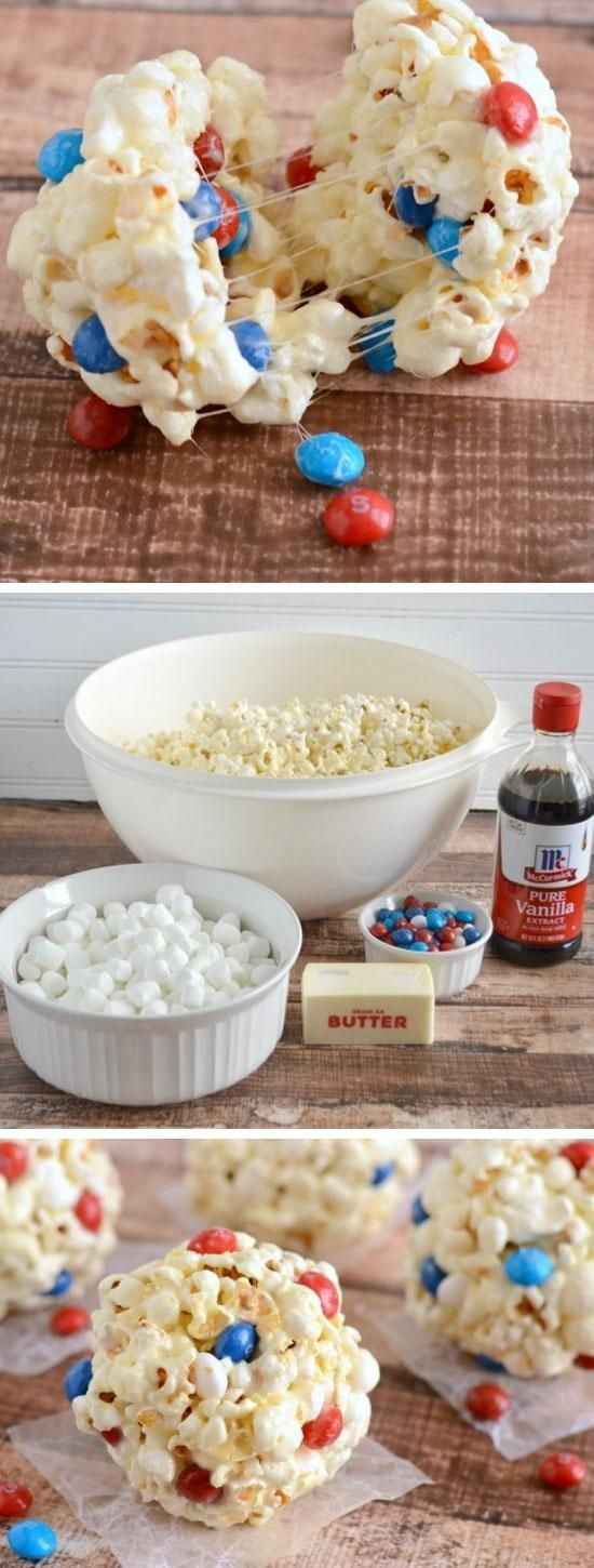 Marshmallow Popcorn Balls   18 Easy 4th of July Desserts for Kids   Fourth of July Treats for Kids