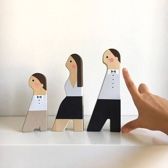 Personalised family portrait wooden dolls. Custom Wedding