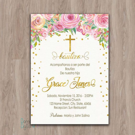 Bautizo invitations, invitaciones de bautizo, invitations de bautizo, spanish baptism invitation, Baptism Invitation girl, invitacion