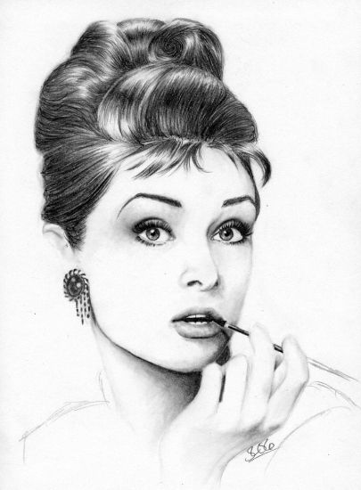 artist unknown | 15 Amazing Drawings Of Audrey Hepburn----> follow stephany medina