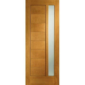 Delivery; 48 - 72 Hours and free anywhere on the UK mainland, Islands and exports by arrangement. The Modena prefinished oak exterior door with obscure double glazed pane is a stunning looking door ideal for front or rear of house locations. The timber itself is fully decorated with Medium Oak Stain on a real american white oak veneer over a solidly constructed engineered core. This prefinished Modena oak exterior door is popular for traditional homes but can also be used for new builds and…