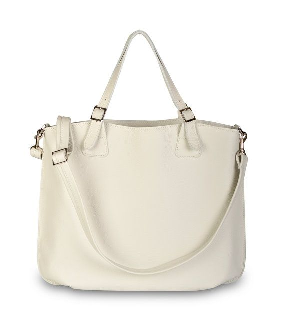 Simple Comfortable Leather Tote Off White Shopping by olalabags
