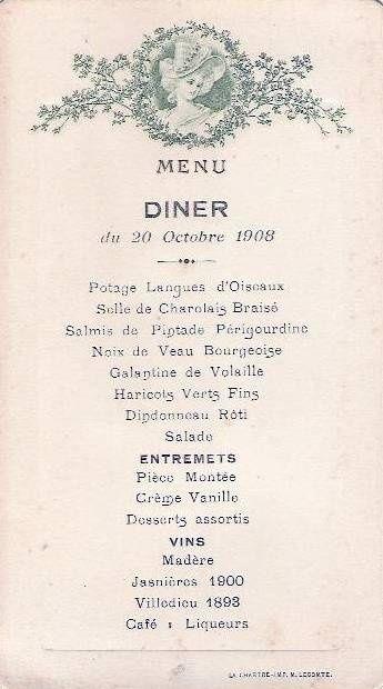 Menu , Diner du 20 Octobre 1908 .