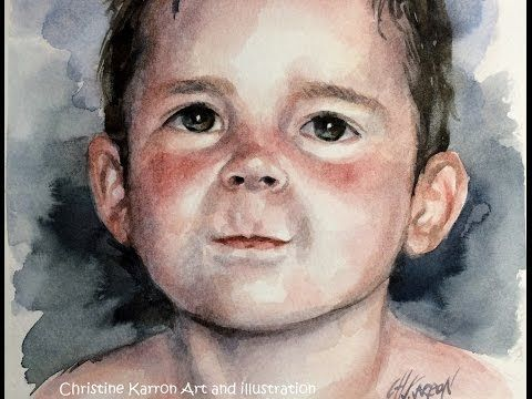 Watercolor portrait painting Baby Boy demo by Ch.Karron - YouTube