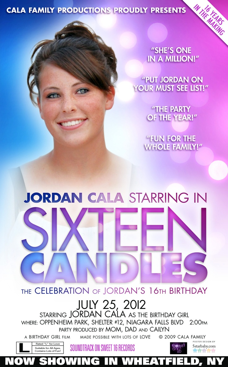 B day poster designs - Custom 16th Birthday Party Invitation And Party Poster Design