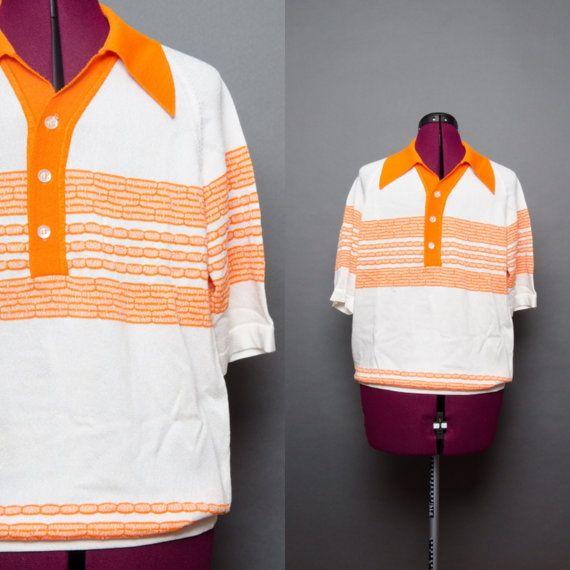 70s Shirt Vintage Polo Retro Mens Shirt 1970s by HankAndGeorge