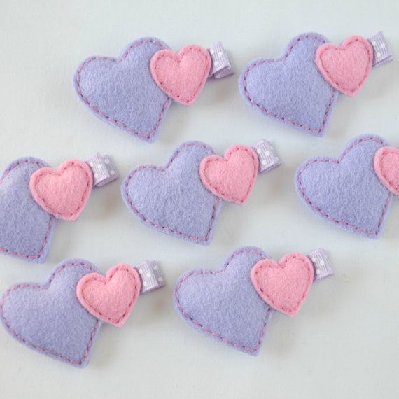 Double Puffy Heart Felt Hair Clippie - Lavender and Light Pink Felt Hearts Hair Bow - Valentine's Day or every day hair clip