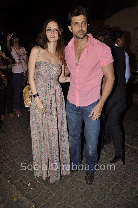 Hritik Roshan with wife Suzanne at Sanjay Leela Bhansali's 50th Birthday Bash