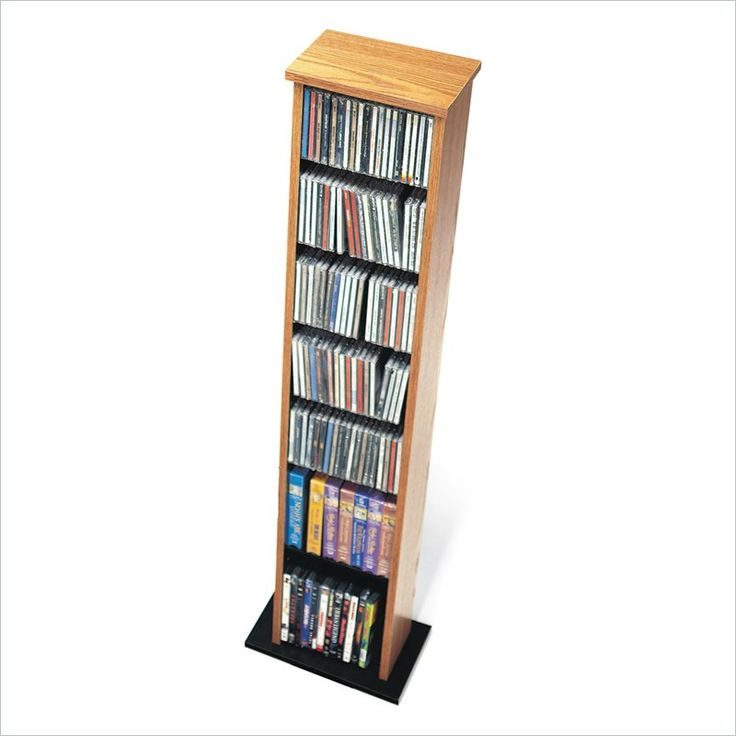 Prepac Slim Multimedia CD DVD Storage Tower in Oak and Black - OMA-0160 - Lowest price online on all Prepac Slim Multimedia CD DVD Storage Tower in Oak and Black - OMA-0160