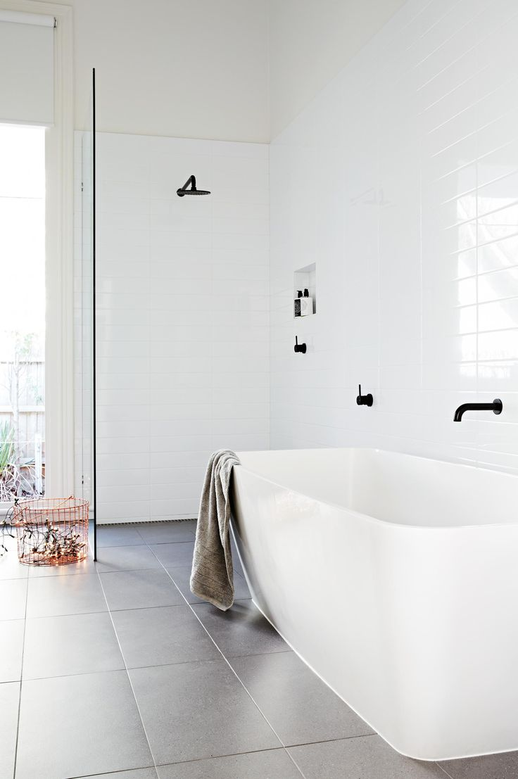 Pin modern tile floor texture simple textured bathroom on pinterest - Simple Design White Bathroom Black Tapware