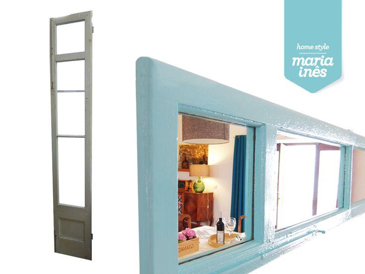 Uma porta resgatada da rua, foi transformada num espelho, pintado com uma cor muito fresquinha. Uma verdadeira reciclagem!