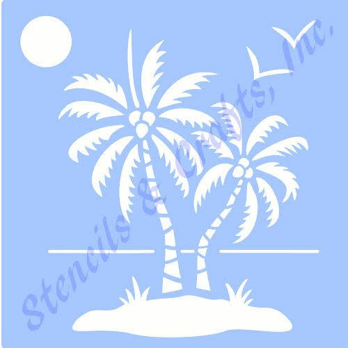 "PALM PALMS STENCIL ocean sun bird birds transparent blue 7 mil templates beach sea stencils pattern background new 6"" X 7.5"" free shipping"