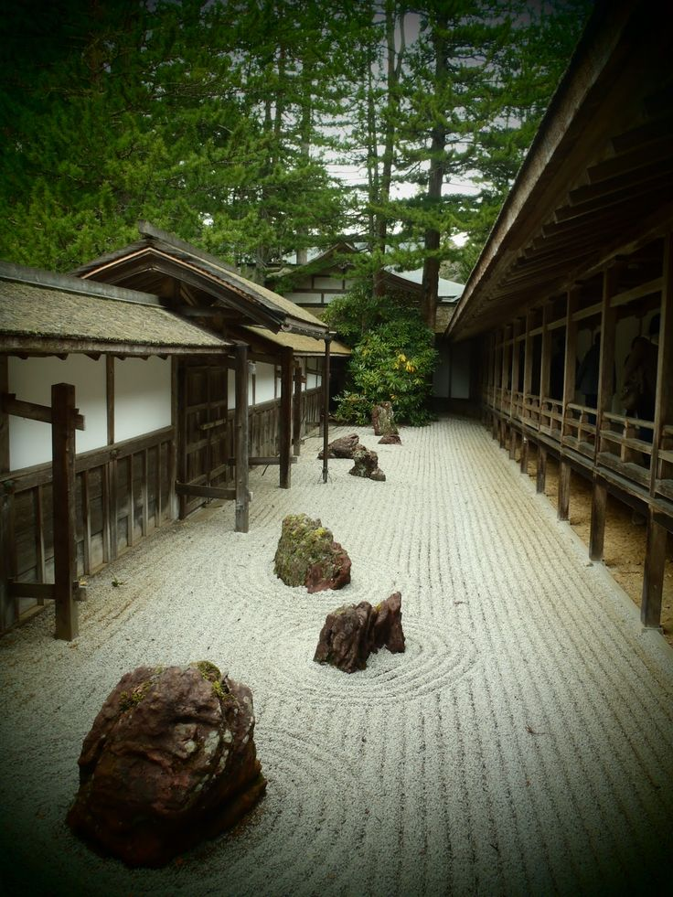 Buddhist temple courtyard, Mt. Koya, Japan.