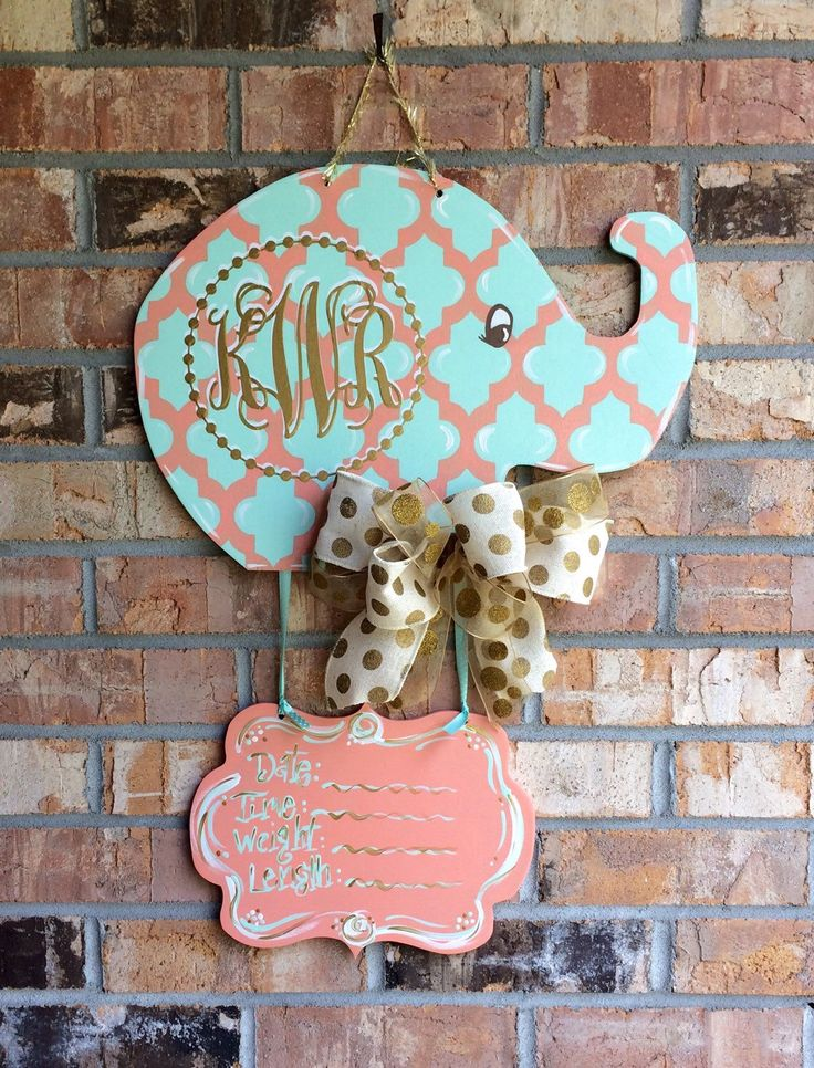 Baby Elephant Nursery/Hospital Door Hanger by craftigirlcreations on Etsy https://www.etsy.com/listing/227036153/baby-elephant-nurseryhospital-door
