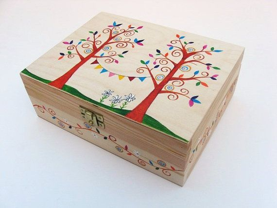 Wooden Jewellery Box, Keepsake Box, Wooden Trinket Box, Hand Painted Jewellery Box with 6 internal compartments - Folk Inspired Tree Design.